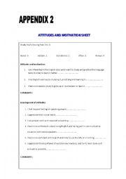 English Worksheet: attitudes and motivation evaluation sheet