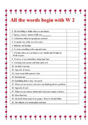 All the words start with W 2