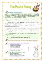 English worksheet: The Easter Bunny -  reading, grammar, vocabulary