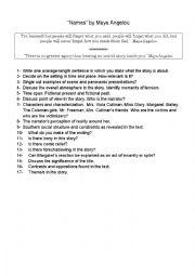 English Worksheet: �Names� by Maya Angelou