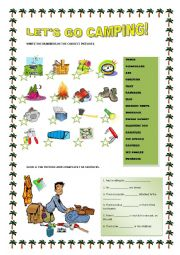 English Worksheet: LET�S GO CAMPING!
