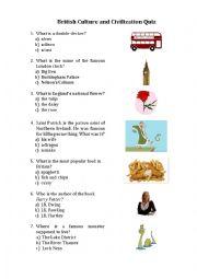 British culture & civilization quiz
