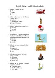 English Worksheet: British culture & civilization quiz