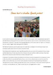 English Worksheet: Dozens hurt in drunken Spanish protest