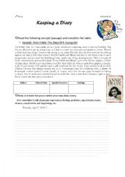 English Worksheet: Keeping a Diary