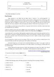 English Worksheet: Test Peer Pressure -10th grade
