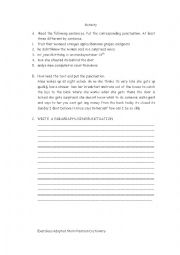 English Worksheet: PUNCTUATION EXERCISES