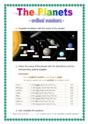 English worksheet: The Planets - ordinal numbers