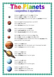 English worksheet: The Planets - comparative & superlative
