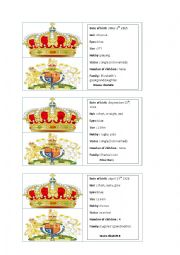 English Worksheet: Royal family game cards part 2