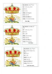 English Worksheet: Royal family game cards part 3