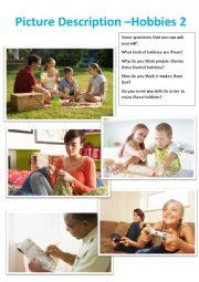 English Worksheet: Picture Description - Hobbies 2