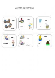 English Worksheet: MOVERS: OPPOSITE ADJECTIVES 1