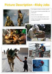 English Worksheet: Picture Description - Risky jobs