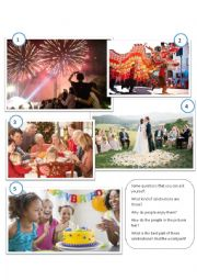 English Worksheet: Picture Description - Celebrations
