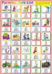Farm Verb List - Pictionary - infinitive, past simple, past participle.