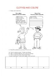 English Worksheet: CLOTHES AND COLORS