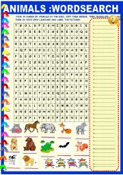 English Worksheet: Animals: wordsearch with key