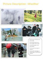 English Worksheet: Picture Description - Weather