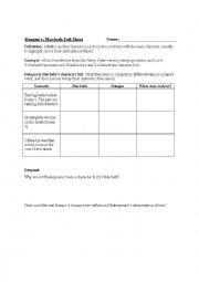 character foil worksheet