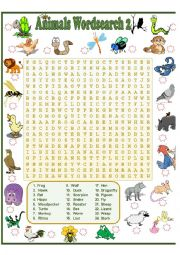 ANIMALS WORDSEARCH 2