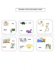 English Worksheet: MOVERS: OPPOSITE ADJECTIVES 2