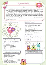 English Worksheet: Meet my monster Rosy! Have/has got, body parts