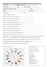 English Worksheet: Getting to know you