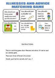English Worksheet: Illness and advice matching game