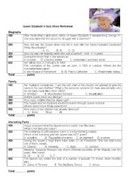 Queen Elizabeth II Quiz Worksheet
