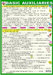 English Worksheet: Basic auxiliaries: practice: can have be do