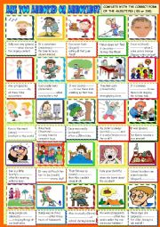 English Worksheet: Are you annoyed or annoying?Participial adjectives ED ING