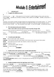 English Worksheet: Module5:Entertainment.  Remedial Work