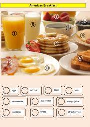 English Worksheet: American Breakfast - matching words