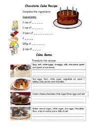 English Worksheet: Chocolate Cake Recipe & Cake Game - Food Vocabulary