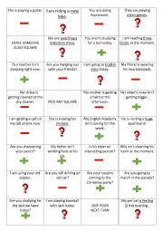 English worksheet: Present Continuous Coin Toss Game