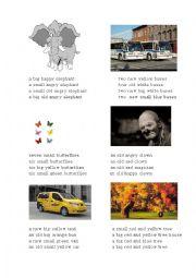 English Worksheet: A big happy elephant