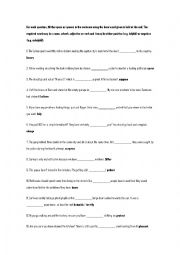 English Worksheet: FIRST CERTIFICATE WORD FORMATION