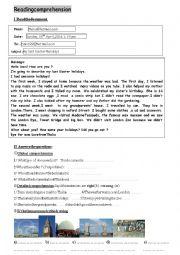 English worksheet: e mail last holidays