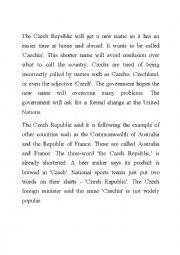 English Worksheet: New Article Work Sheet on the Czech Republic