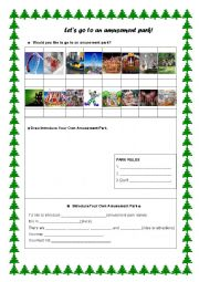 English Worksheet: Let�s Go To An Amusement Park!