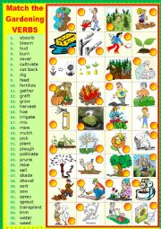 English Worksheet: Matching GARDENING VERBS.
