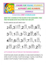 Colors, alphabet, numbers and animals for beginners - 6 exercises and 12 flashcards.