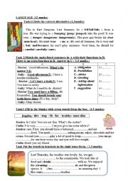 Mid term test n°3 for the 7th forms