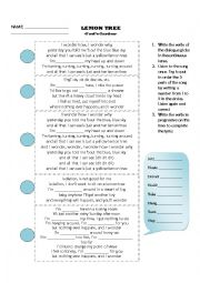 English Worksheet: LEMON TREE SONG