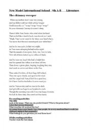 English Worksheet: The Cimney sweeper by william blake