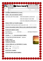 English Worksheet: Mid term test n°3 for the 7th forms