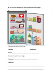English Worksheet: There is/are... in the fridge