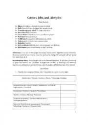 English Worksheet: Careers, Jobs, and Lifestyles