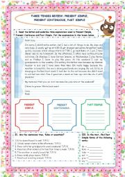 English Worksheet: THREE TENSES REVIEW: PRESENT SIMPLE, PRESENT CONTINUOUS, PAST SIMPLE